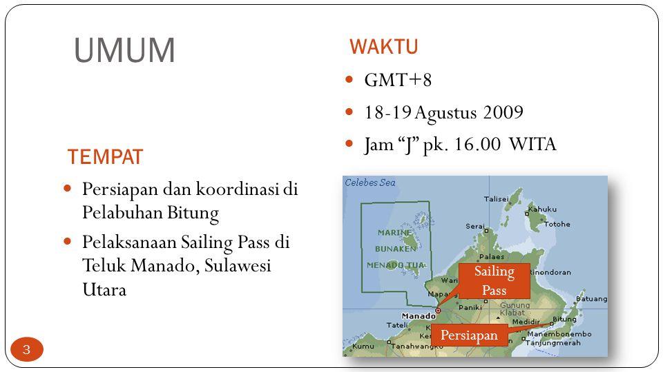 "UMUM WAKTU TEMPAT GMT+8 18-19 Agustus 2009 Jam ""J"" pk. 16.00 WITA Persiapan dan koordinasi di Pelabuhan Bitung Pelaksanaan Sailing Pass di Teluk Manad"