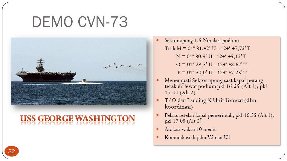 DEMO CVN-73 Sektor apung 1,5 Nm dari podium Titik M = 01º 31,42' U - 124º 47,72' T N = 01º 30,9' U - 124º 49,12' T O = 01º 29,5' U - 124º 48,62' T P =