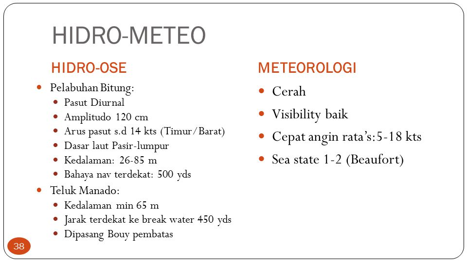HIDRO-METEO HIDRO-OSEMETEOROLOGI Pelabuhan Bitung: Pasut Diurnal Amplitudo 120 cm Arus pasut s.d 14 kts (Timur/Barat) Dasar laut Pasir-lumpur Kedalama