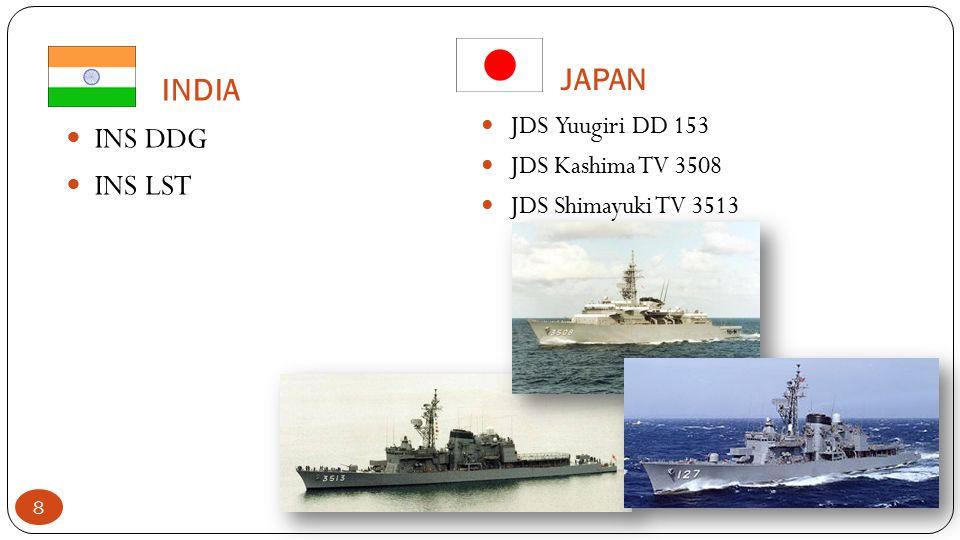 INDIA INS DDG INS LST JAPAN JDS Yuugiri DD 153 JDS Kashima TV 3508 JDS Shimayuki TV 3513 8