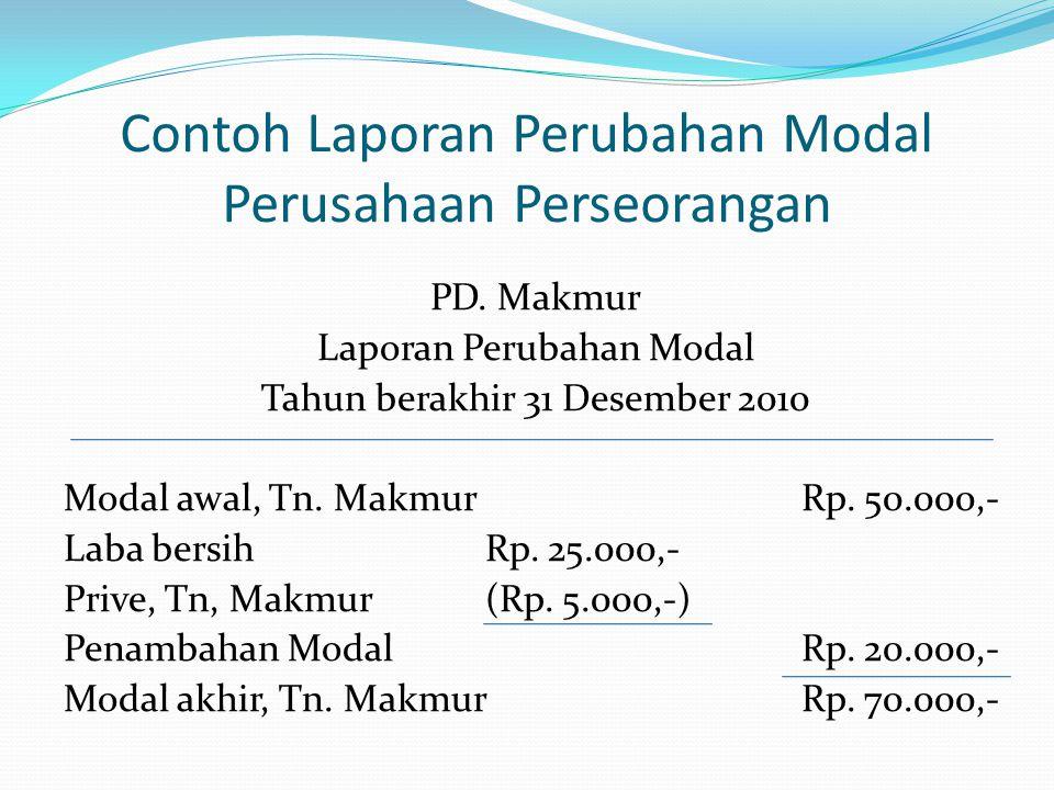 Contoh Laporan Perubahan Modal Perusahaan Perseorangan PD. Makmur Laporan Perubahan Modal Tahun berakhir 31 Desember 2010 Modal awal, Tn. MakmurRp. 50