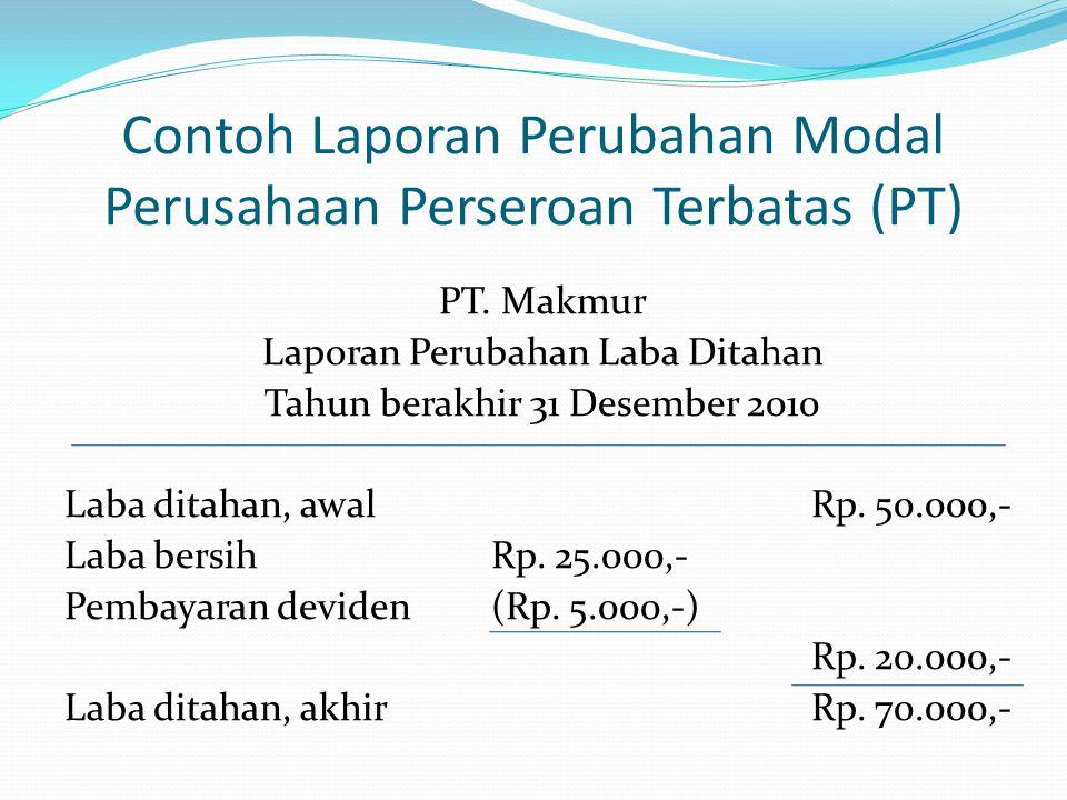 Contoh Laporan Perubahan Modal Perusahaan Perseroan Terbatas (PT) PT. Makmur Laporan Perubahan Laba Ditahan Tahun berakhir 31 Desember 2010 Laba ditah