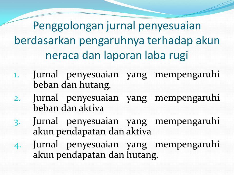 Penggolongan jurnal penyesuaian berdasarkan pengaruhnya terhadap akun neraca dan laporan laba rugi 1. Jurnal penyesuaian yang mempengaruhi beban dan h