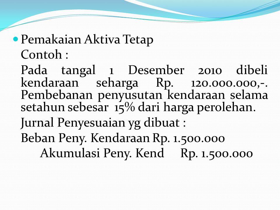 Pemakaian Aktiva Tetap Contoh : Pada tangal 1 Desember 2010 dibeli kendaraan seharga Rp. 120.000.000,-. Pembebanan penyusutan kendaraan selama setahun