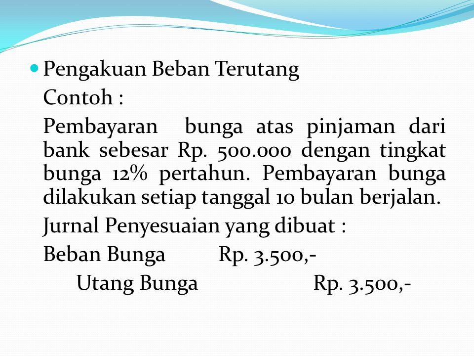 Pengakuan Beban Terutang Contoh : Pembayaran bunga atas pinjaman dari bank sebesar Rp.