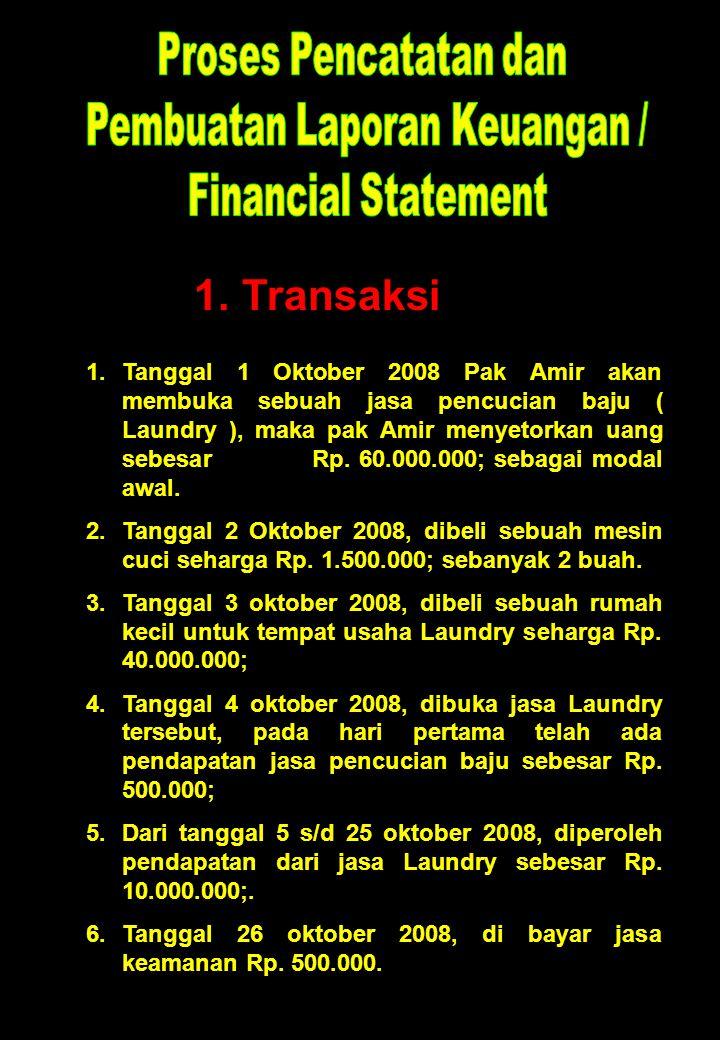1. Transaksi 1.Tanggal 1 Oktober 2008 Pak Amir akan membuka sebuah jasa pencucian baju ( Laundry ), maka pak Amir menyetorkan uang sebesar Rp. 60.000.