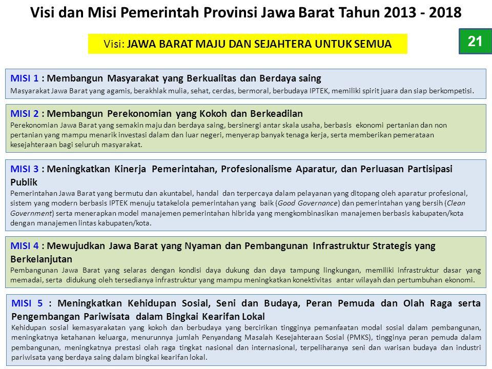 Visi dan Misi Pemerintah Provinsi Jawa Barat Tahun 2013 - 2018 Visi: JAWA BARAT MAJU DAN SEJAHTERA UNTUK SEMUA MISI 1 : Membangun Masyarakat yang Berk
