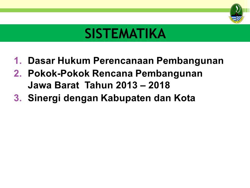 SISTEMATIKA 1.Dasar Hukum Perencanaan Pembangunan 2.Pokok-Pokok Rencana Pembangunan Jawa Barat Tahun 2013 – 2018 3.Sinergi dengan Kabupaten dan Kota