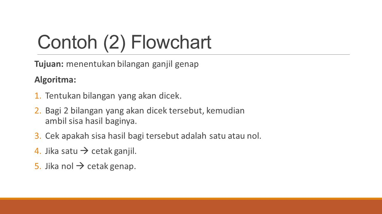 Contoh (2) Flowchart Tujuan: menentukan bilangan ganjil genap Algoritma: 1.Tentukan bilangan yang akan dicek. 2.Bagi 2 bilangan yang akan dicek terseb