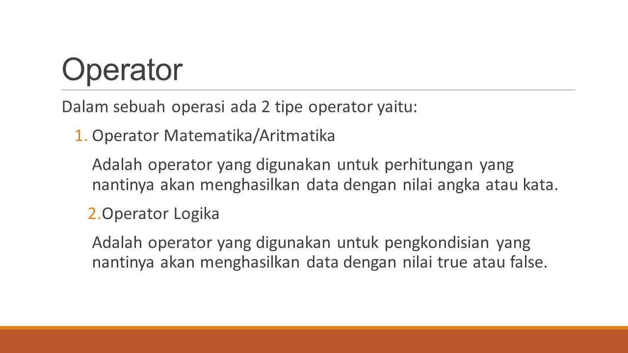 Operator Dalam sebuah operasi ada 2 tipe operator yaitu: 1.Operator Matematika/Aritmatika Adalah operator yang digunakan untuk perhitungan yang nantin