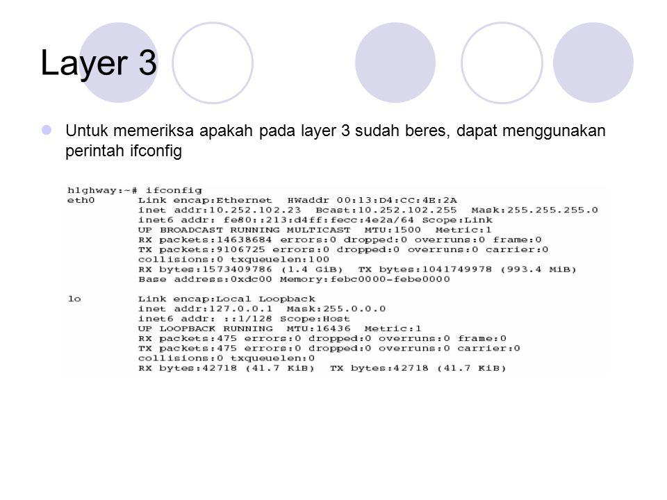 Untuk memeriksa apakah pada layer 3 sudah beres, dapat menggunakan perintah ifconfig