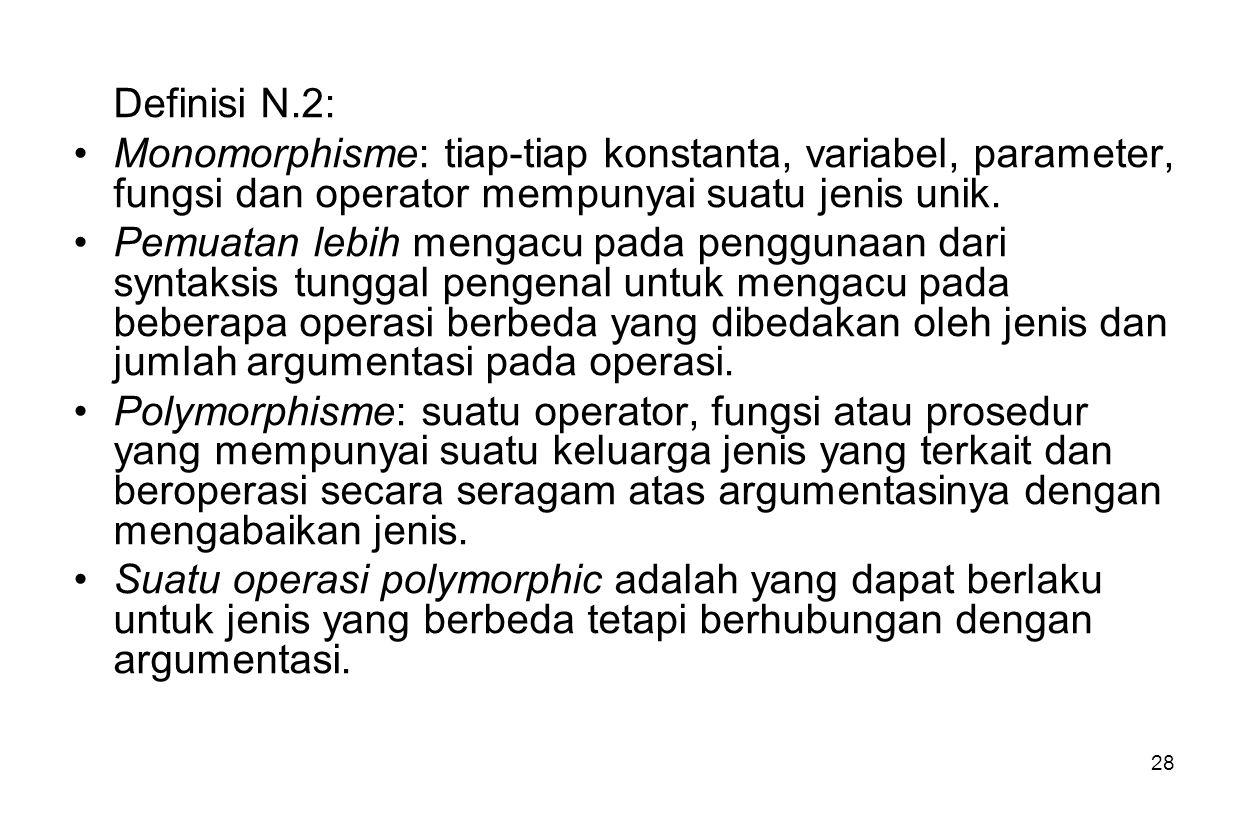 28 Definisi N.2: Monomorphisme: tiap-tiap konstanta, variabel, parameter, fungsi dan operator mempunyai suatu jenis unik.