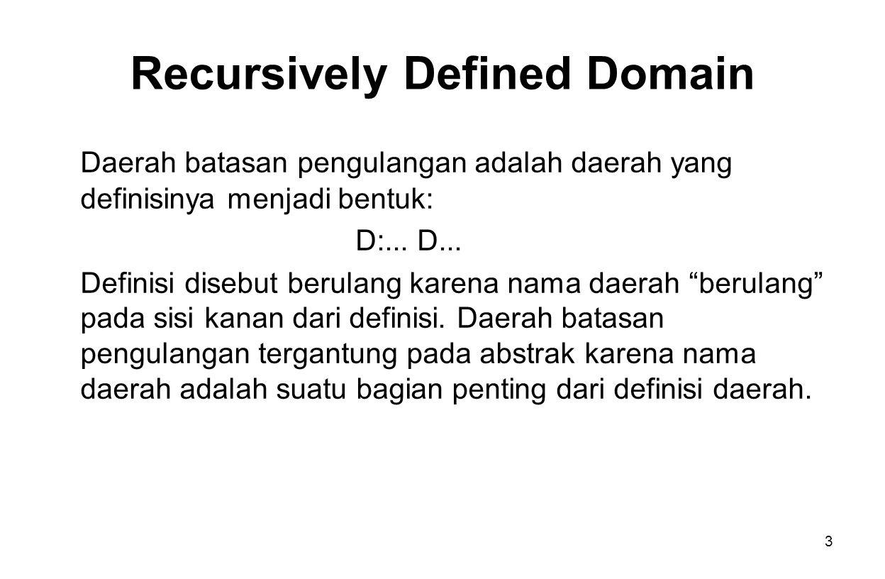 3 Recursively Defined Domain Daerah batasan pengulangan adalah daerah yang definisinya menjadi bentuk: D:...