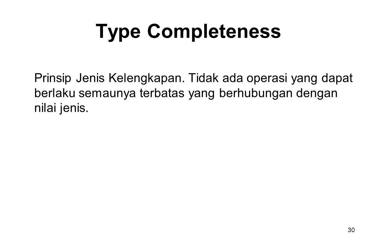30 Type Completeness Prinsip Jenis Kelengkapan.