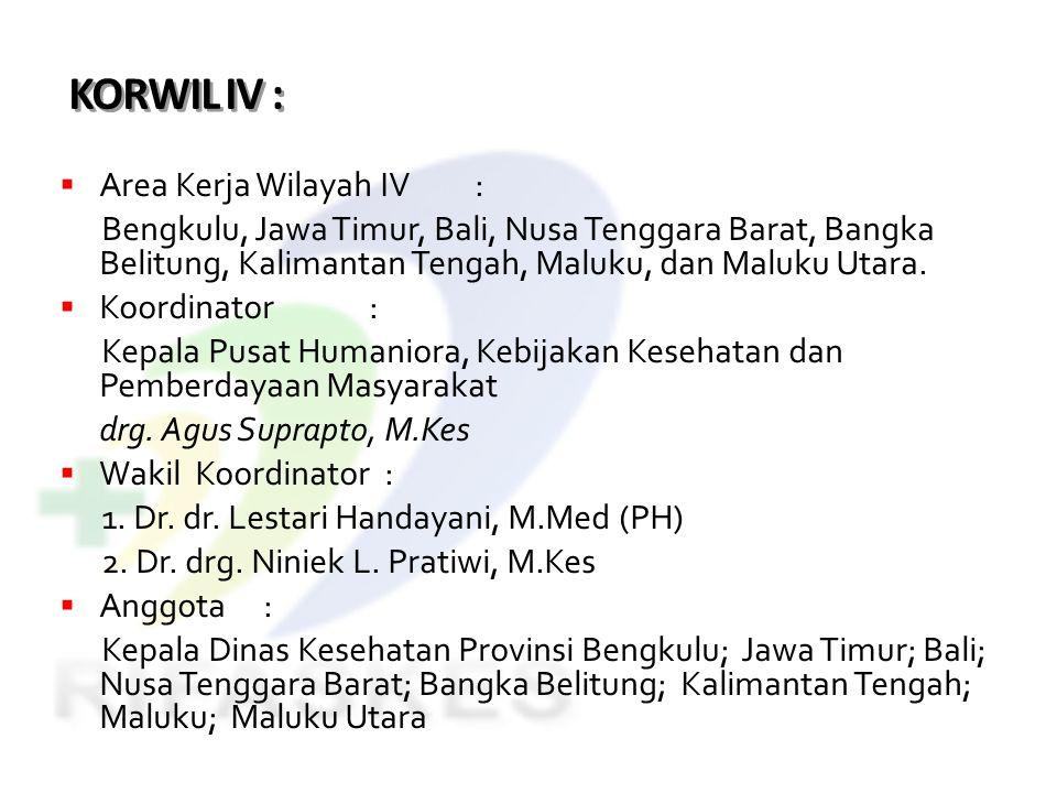 KORWIL IV :  Area Kerja Wilayah IV: Bengkulu, Jawa Timur, Bali, Nusa Tenggara Barat, Bangka Belitung, Kalimantan Tengah, Maluku, dan Maluku Utara. 