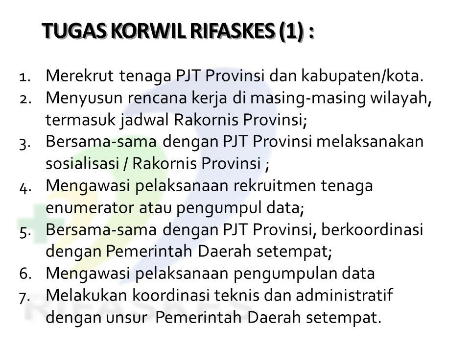 TUGAS KORWIL RIFASKES (1) : 1. Merekrut tenaga PJT Provinsi dan kabupaten/kota. 2. Menyusun rencana kerja di masing-masing wilayah, termasuk jadwal Ra