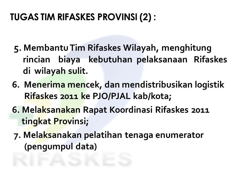 TUGAS TIM RIFASKES PROVINSI (2) : 5. Membantu Tim Rifaskes Wilayah, menghitung rincian biaya kebutuhan pelaksanaan Rifaskes di wilayah sulit. 6. Mener