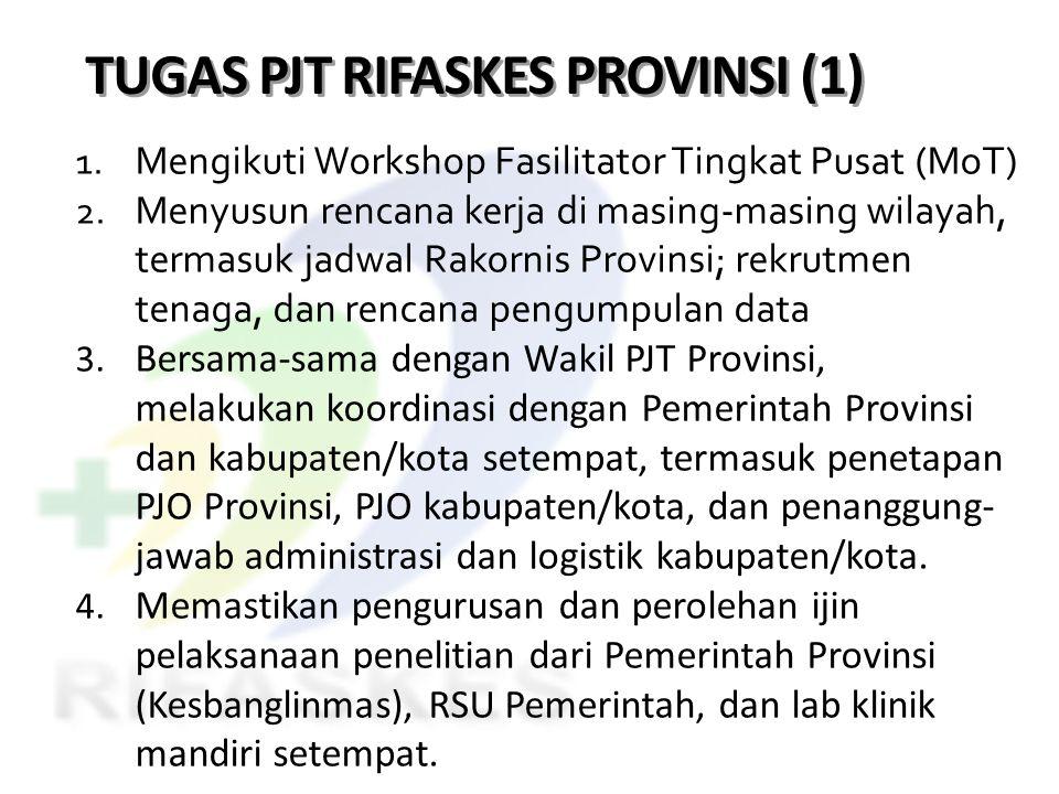 TUGAS PJT RIFASKES PROVINSI (1) 1. Mengikuti Workshop Fasilitator Tingkat Pusat (MoT) 2. Menyusun rencana kerja di masing-masing wilayah, termasuk jad