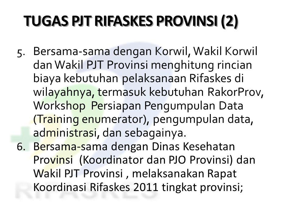 TUGAS PJT RIFASKES PROVINSI (2) 5. Bersama-sama dengan Korwil, Wakil Korwil dan Wakil PJT Provinsi menghitung rincian biaya kebutuhan pelaksanaan Rifa