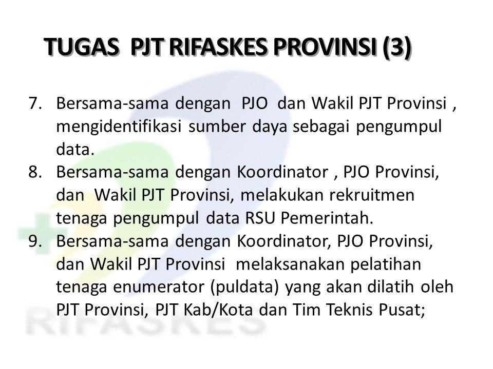 TUGAS PJT RIFASKES PROVINSI (3) 7. Bersama-sama dengan PJO dan Wakil PJT Provinsi, mengidentifikasi sumber daya sebagai pengumpul data. 8. Bersama-sam