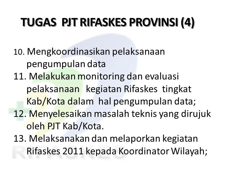 TUGAS PJT RIFASKES PROVINSI (4) 10. Mengkoordinasikan pelaksanaan pengumpulan data 11. Melakukan monitoring dan evaluasi pelaksanaan kegiatan Rifaskes