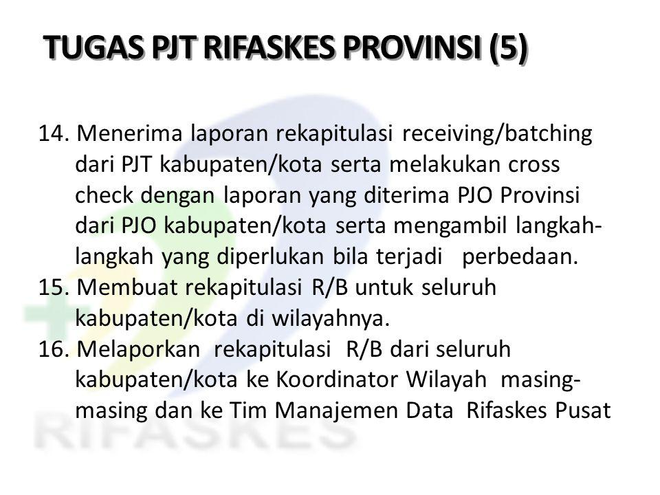 TUGAS PJT RIFASKES PROVINSI (5) 14. Menerima laporan rekapitulasi receiving/batching dari PJT kabupaten/kota serta melakukan cross check dengan lapora