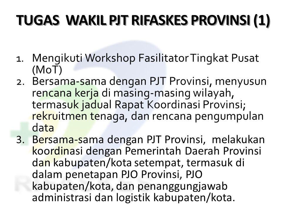 TUGAS WAKIL PJT RIFASKES PROVINSI (1) 1. Mengikuti Workshop Fasilitator Tingkat Pusat (MoT) 2. Bersama-sama dengan PJT Provinsi, menyusun rencana kerj