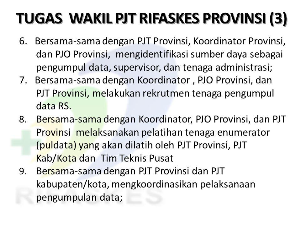 TUGAS WAKIL PJT RIFASKES PROVINSI (3) 6. Bersama-sama dengan PJT Provinsi, Koordinator Provinsi, dan PJO Provinsi, mengidentifikasi sumber daya sebaga
