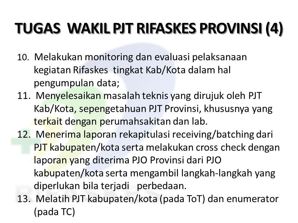 TUGAS WAKIL PJT RIFASKES PROVINSI (4) 10. Melakukan monitoring dan evaluasi pelaksanaan kegiatan Rifaskes tingkat Kab/Kota dalam hal pengumpulan data;