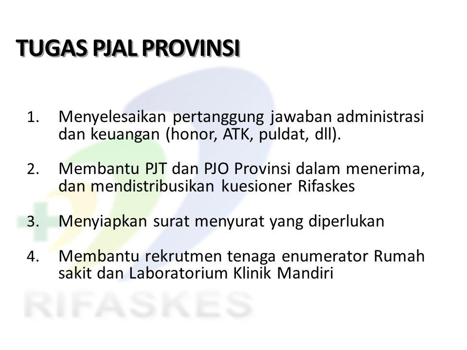TUGAS PJAL PROVINSI 1. Menyelesaikan pertanggung jawaban administrasi dan keuangan (honor, ATK, puldat, dll). 2. Membantu PJT dan PJO Provinsi dalam m