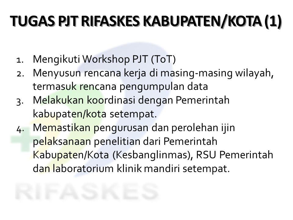 TUGAS PJT RIFASKES KABUPATEN/KOTA (1) 1. Mengikuti Workshop PJT (ToT) 2. Menyusun rencana kerja di masing-masing wilayah, termasuk rencana pengumpulan