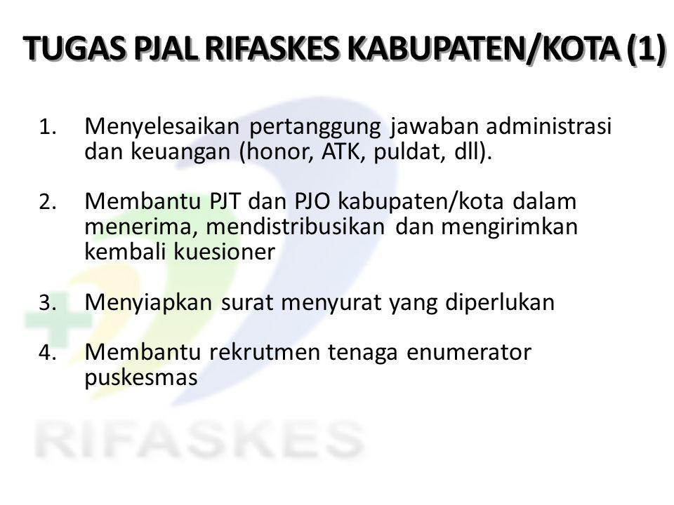 TUGAS PJAL RIFASKES KABUPATEN/KOTA (1) 1. Menyelesaikan pertanggung jawaban administrasi dan keuangan (honor, ATK, puldat, dll). 2. Membantu PJT dan P