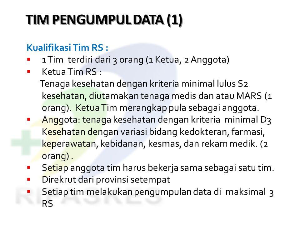 TIM PENGUMPUL DATA (1) Kualifikasi Tim RS :  1 Tim terdiri dari 3 orang (1 Ketua, 2 Anggota)  Ketua Tim RS : Tenaga kesehatan dengan kriteria minima
