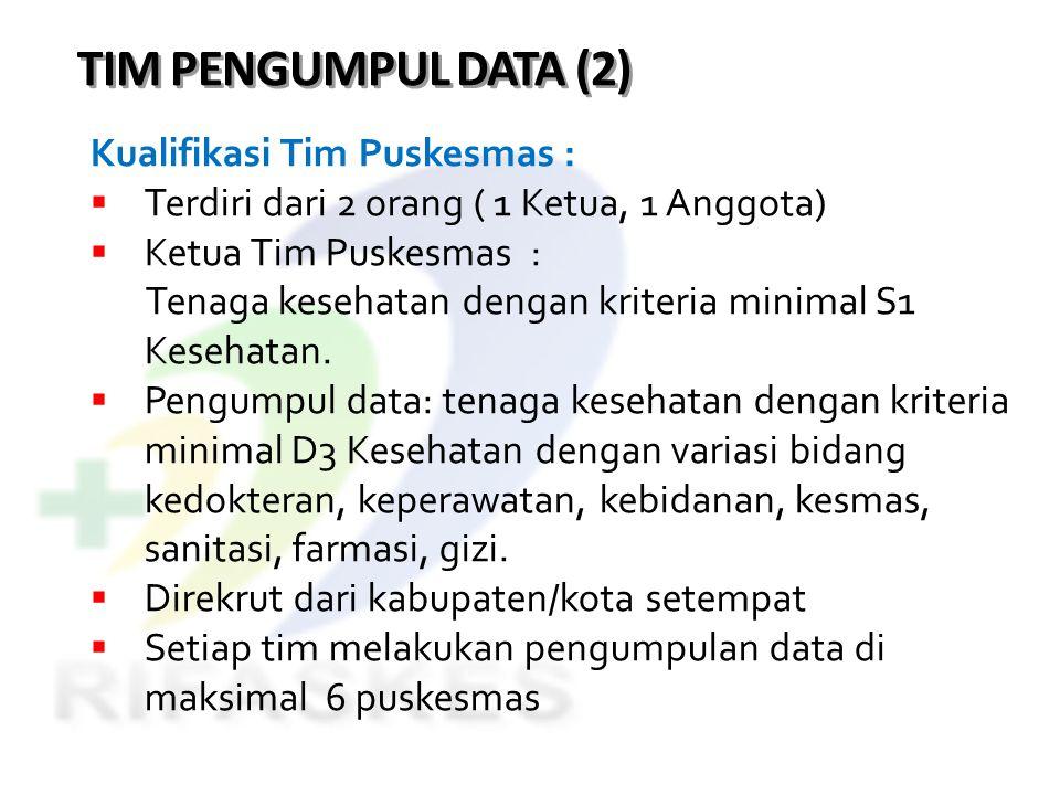 TIM PENGUMPUL DATA (2) Kualifikasi Tim Puskesmas :  Terdiri dari 2 orang ( 1 Ketua, 1 Anggota)  Ketua Tim Puskesmas : Tenaga kesehatan dengan kriter