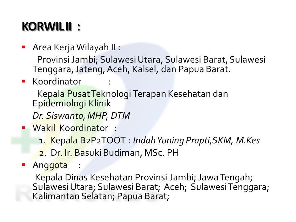 KORWIL II :  Area Kerja Wilayah II : Provinsi Jambi; Sulawesi Utara, Sulawesi Barat, Sulawesi Tenggara, Jateng, Aceh, Kalsel, dan Papua Barat.  Koor