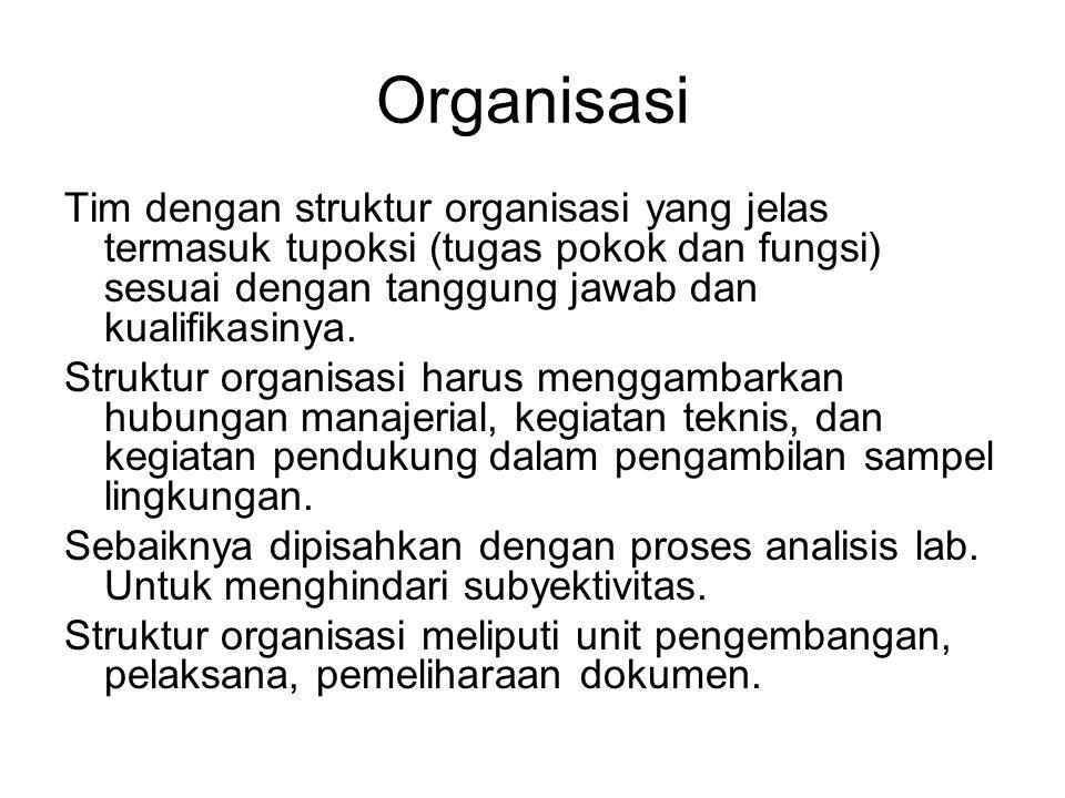 Organisasi Tim dengan struktur organisasi yang jelas termasuk tupoksi (tugas pokok dan fungsi) sesuai dengan tanggung jawab dan kualifikasinya. Strukt
