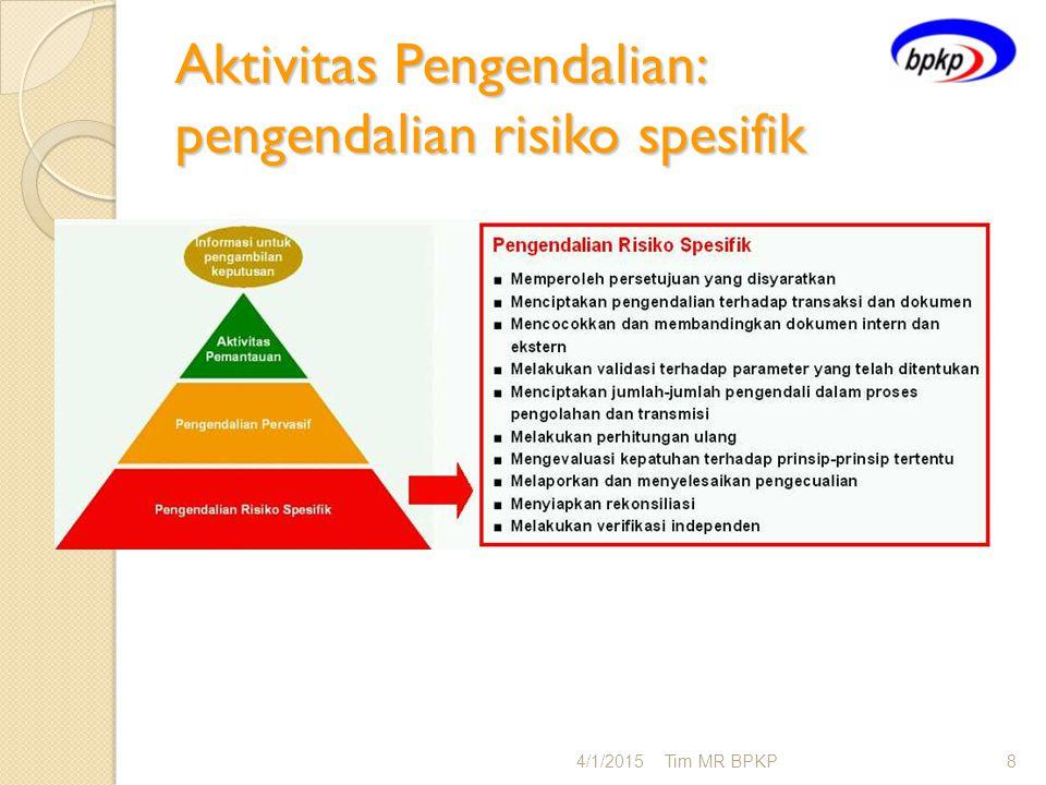Aktivitas Pengendalian: pengendalian risiko spesifik 4/1/2015Tim MR BPKP8