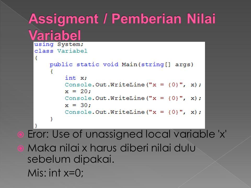  Eror: Use of unassigned local variable 'x'  Maka nilai x harus diberi nilai dulu sebelum dipakai. Mis: int x=0;