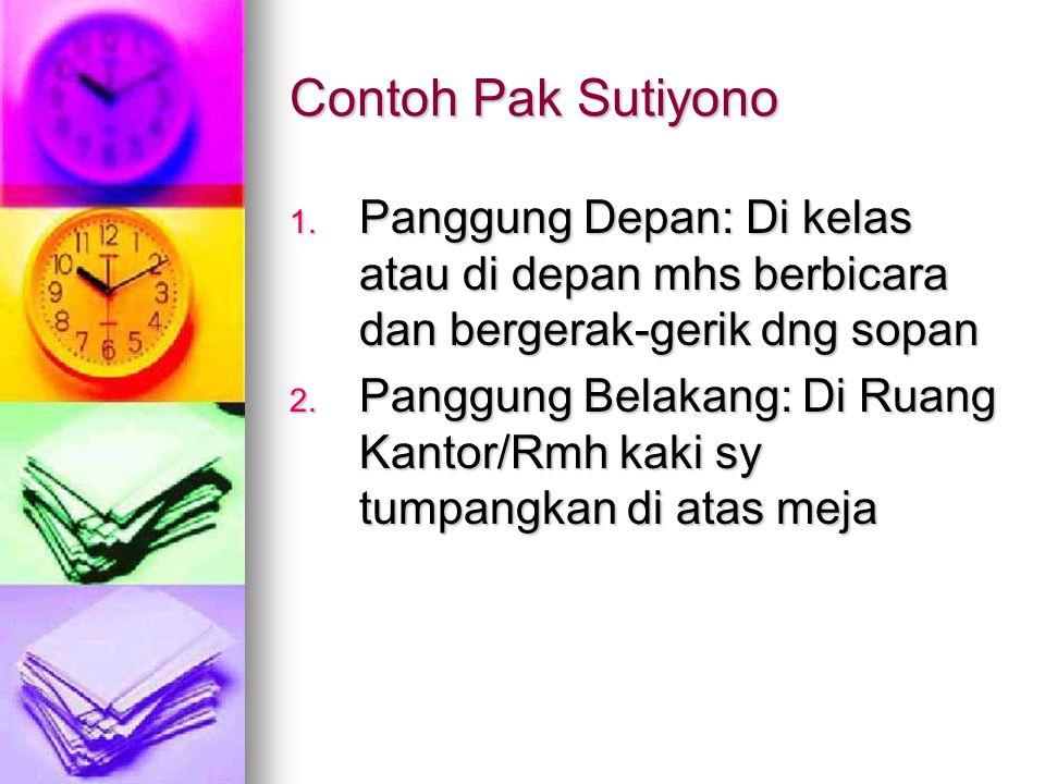 Contoh Pak Sutiyono 1. Panggung Depan: Di kelas atau di depan mhs berbicara dan bergerak-gerik dng sopan 2. Panggung Belakang: Di Ruang Kantor/Rmh kak
