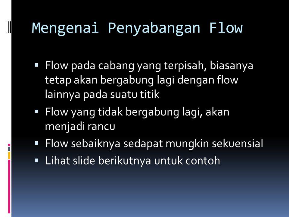 Mengenai Penyabangan Flow  Flow pada cabang yang terpisah, biasanya tetap akan bergabung lagi dengan flow lainnya pada suatu titik  Flow yang tidak