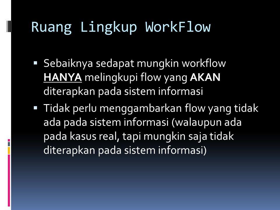 Ruang Lingkup WorkFlow  Sebaiknya sedapat mungkin workflow HANYA melingkupi flow yang AKAN diterapkan pada sistem informasi  Tidak perlu menggambark
