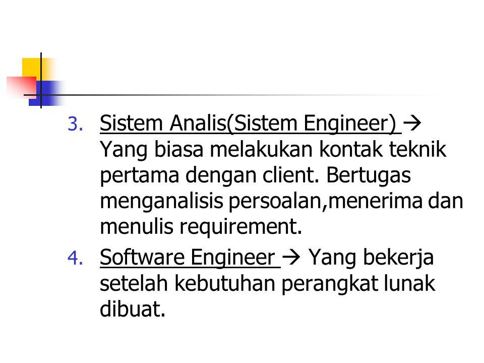 3. Sistem Analis(Sistem Engineer)  Yang biasa melakukan kontak teknik pertama dengan client. Bertugas menganalisis persoalan,menerima dan menulis req