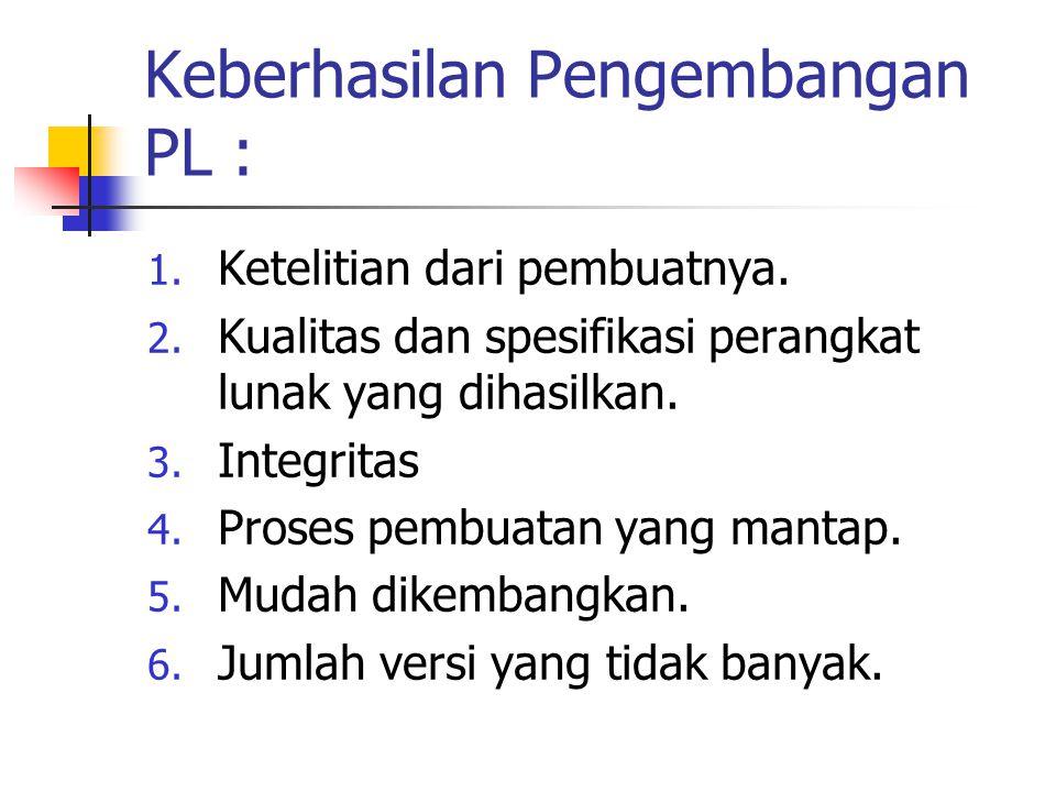 Keberhasilan Pengembangan PL : 1. Ketelitian dari pembuatnya. 2. Kualitas dan spesifikasi perangkat lunak yang dihasilkan. 3. Integritas 4. Proses pem