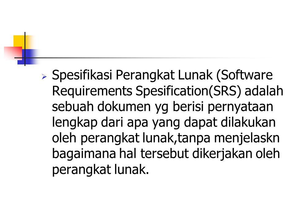  Spesifikasi Perangkat Lunak (Software Requirements Spesification(SRS) adalah sebuah dokumen yg berisi pernyataan lengkap dari apa yang dapat dilakuk