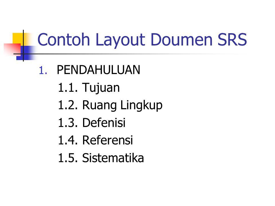 Contoh Layout Doumen SRS 1. PENDAHULUAN 1.1. Tujuan 1.2. Ruang Lingkup 1.3. Defenisi 1.4. Referensi 1.5. Sistematika