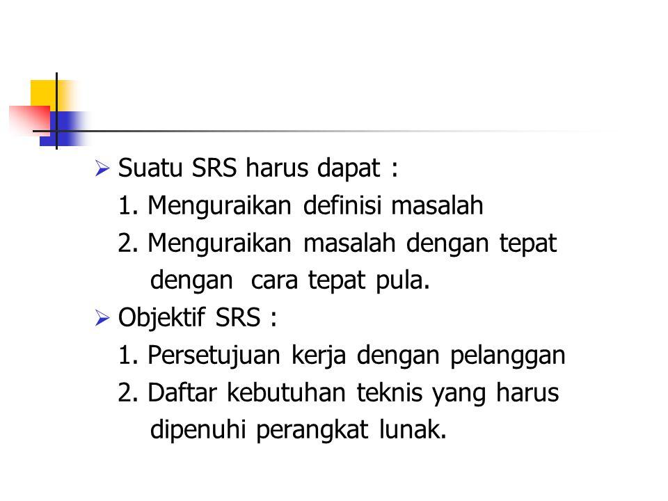  Suatu SRS harus dapat : 1. Menguraikan definisi masalah 2. Menguraikan masalah dengan tepat dengan cara tepat pula.  Objektif SRS : 1. Persetujuan