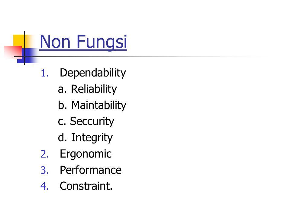 Non Fungsi 1. Dependability a. Reliability b. Maintability c. Seccurity d. Integrity 2. Ergonomic 3. Performance 4. Constraint.