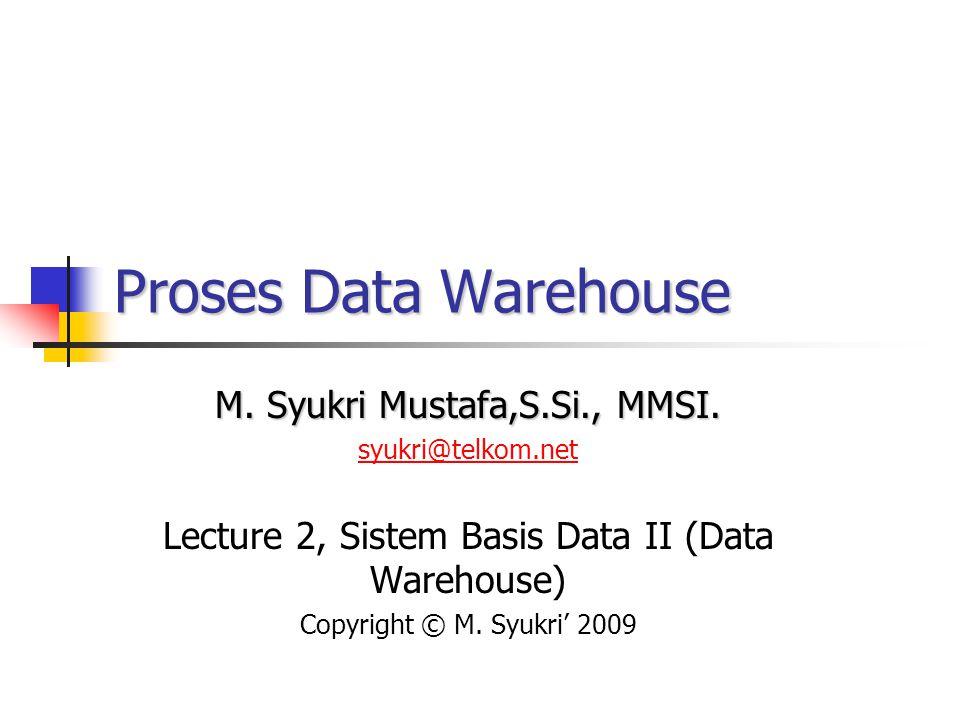Pengembangan Data Warehouse- Masalah Utama: Pencarian Data Mengerti dan melakukan mapping definisi dari data ke dalam sistem sumber Pembersihan Data Menyatukan data dari beberapa sumber Pengaturan penyimpanan data Mendefinisikan Keperluan Manajer berbeda mempunyai kesamaan yang sedikit Keperluan umumnya sulit untuk diekspresikan Sebaiknya difokuskan pada proses pengambilan keputusan