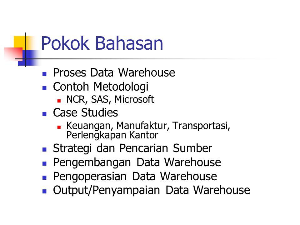 Proses Data Warehouse Data warehousing adalah sebuah proses evolusi mencakup pencarian sumber, penyimpanan dan penyajian/penyampaian data untuk mendukung pengambil keputusan