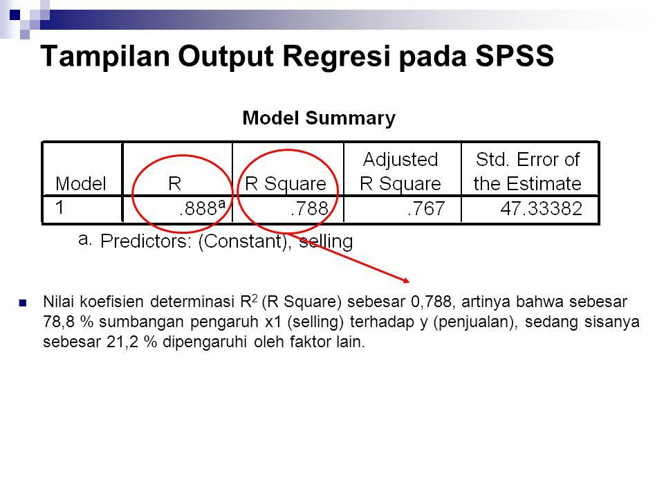 Tampilan Output Regresi pada SPSS Nilai koefisien determinasi R 2 (R Square) sebesar 0,788, artinya bahwa sebesar 78,8 % sumbangan pengaruh x1 (sellin